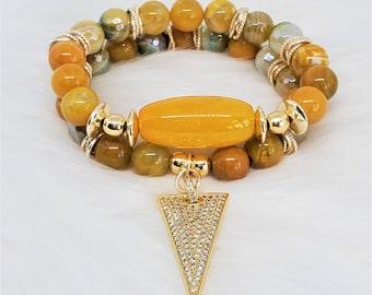 Women's Two Stack Bracelet, Stretch Bracelets, Beaded Bracelets, Agate Bracelets, Yellow