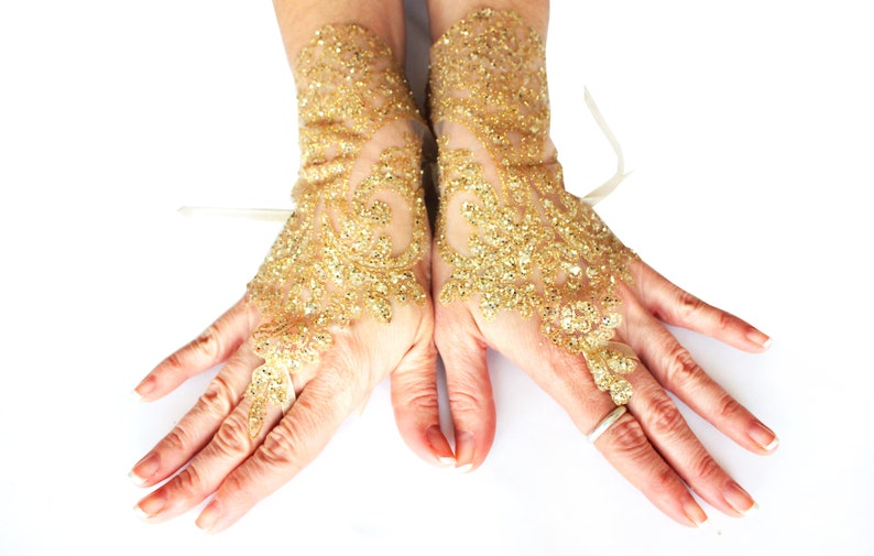 1d89a40a3d7 Gold lace gloves wedding lace gloves bridal gold glove