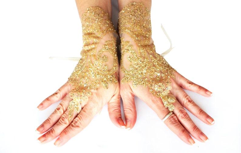 1d89a40a3d7 Gold lace gloves wedding lace gloves bridal gold glove
