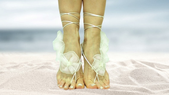 wedding beach barefoot sandal pearls anklet Pure wedding spring wedding barefoot white sandals summer with flowers boho sandal shoes nude qwS6B