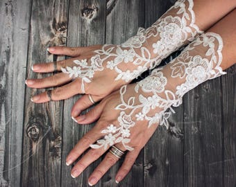 Long bridal gloves, white wedding fingerless gloves, lace barefoot sandals, alencon lace gauntlet, french lace wedding accessories