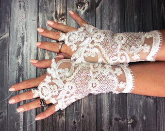 Wedding gloves beaded pearls ivory bridal gloves lace gloves fingerless gloves french lace gloves