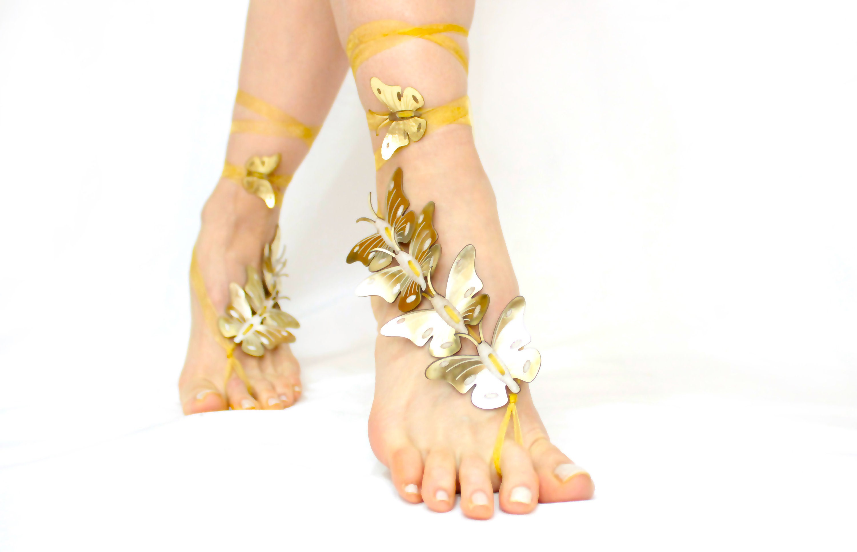 2fedfd4999cd5 Barefoot Sandals Gold Beach wedding anklet Genuine Leather