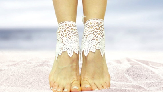 59fa71f03bdc1 White lace barefoot sandals beach wedding sandals guipure