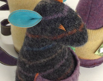 "RECYCLED Stuffed Animal / ""WOOLIES"" Handmade Reclaimed Material Toy / Repurposed Felted Wool Plush Doll w/ Leather Trim"