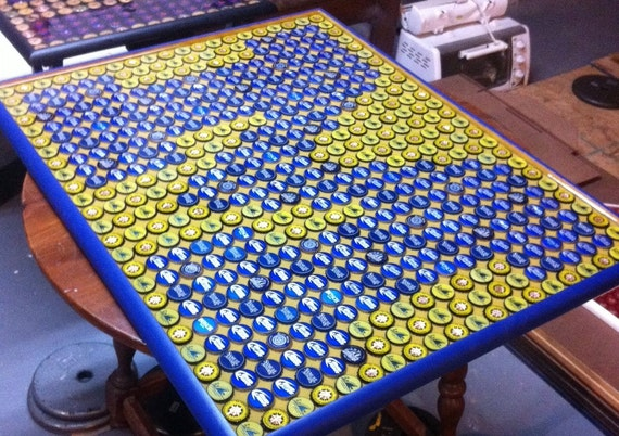 Pleasing Bottle Cap Art Michigan Wolverines Block M Logo Table Top Epoxy Highly Reviewed Gmtry Best Dining Table And Chair Ideas Images Gmtryco