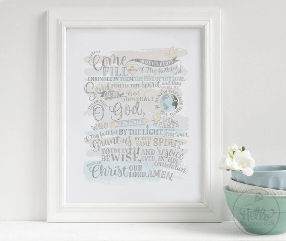 picture relating to Come Holy Spirit Prayer Printable known as Occur Holy Spirit Prayer Christian Wall Artwork Scripture Artwork Print  Christian Verse Artwork