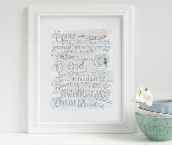 photograph about Come Holy Spirit Prayer Printable named Occur Holy Spirit Prayer Christian Wall Artwork Scripture Artwork Print  Christian Verse Artwork