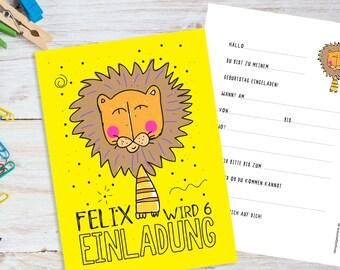 SET 8 STÜCK Einladungskarten Personalisiert   Löwe