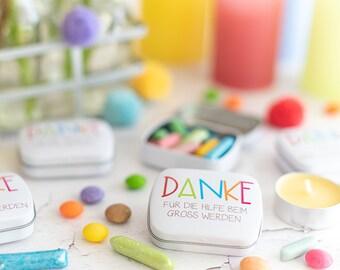 3 Stück Danke - Kindergartenabschiedsgeschenk  - bedrückte Döschen