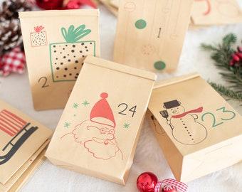 Freu Dich-Papiertütchen Adventskalender zum Befüllen, Kraftpapier Tütchen, Tütchen mit einem integrierten Verschluss