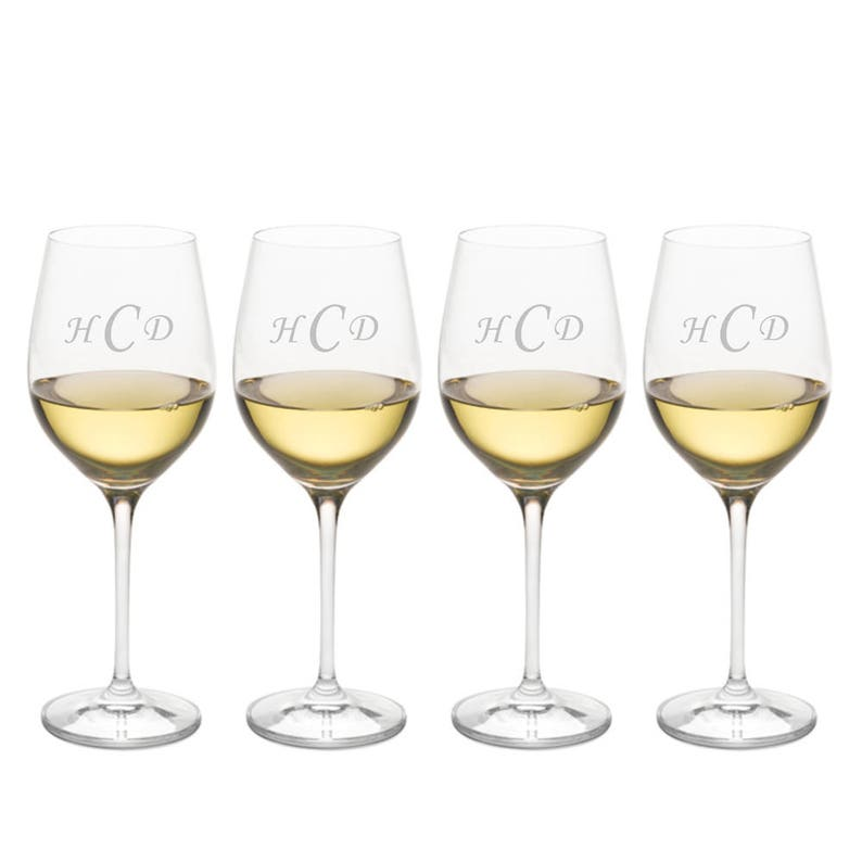 b3dba85a689 Custom Crystal Chardonnay Wine Glass 4pc. Gift Set By | Etsy