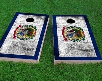Corn Hole Wraps Custom Bag Toss FREE SHIPPING Virginia Themed Cornhole Board Prints Worn State Flag Corn Toss