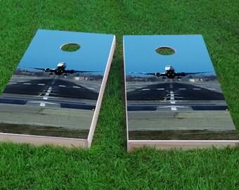 Corn Toss Bag Toss Custom Passenger Jet Taking Off Themed Cornhole Board Prints  Wraps Corn Hole Wraps
