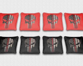 Made in the USA Corn or All Weather Plastic Resin Filled Water Color American Flag  Themed Custom Cornhole Bags Set of 8