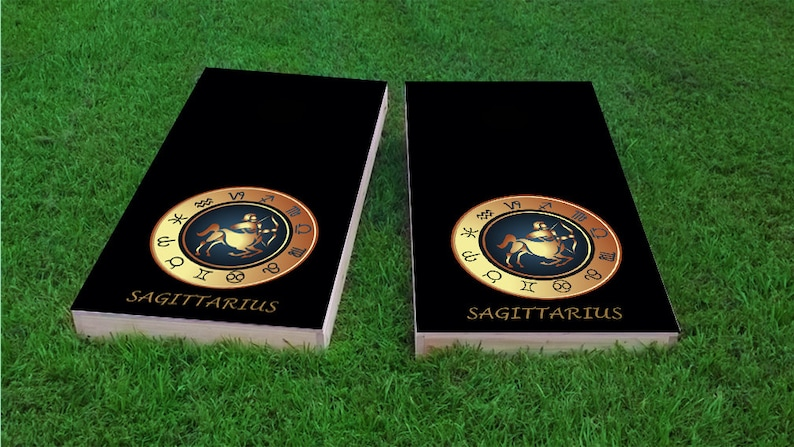 Sagittarius Bag Toss 1x4 Zodiac Black Themed Light Weight Corn Hole Regulation Size Custom Cornhole Board Game Set