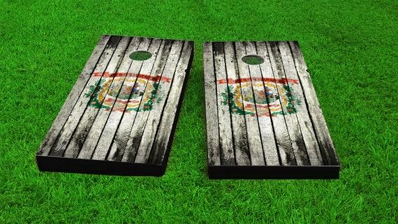 Alabama  Themed Worn  Distressed Wood Slat State Flag Themed Custom Cornhole Board Game Set