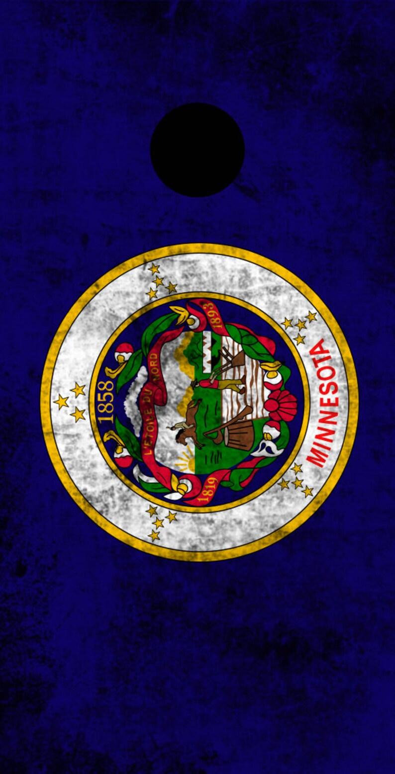 Corn Toss Worn State Flag FREE SHIPPING Custom Corn Hole Wraps Themed Cornhole Board Prints Minnesota Bag Toss