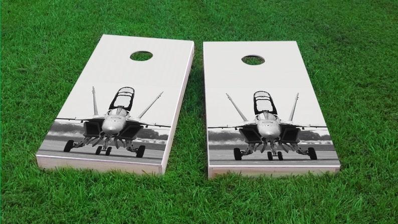 Bag Toss F-18 Hornet Fighter Jet Themed 2x4 Custom Cornhole Board Set with bags Custom Corn Hole Corn Toss Bean Bag Toss
