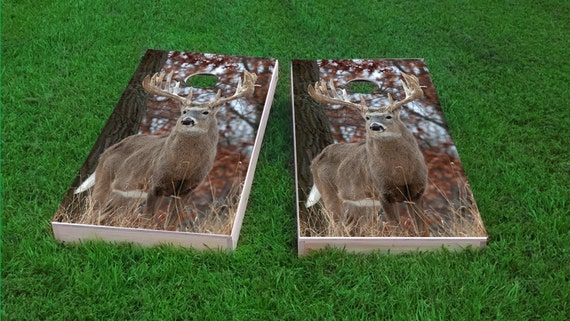 Corn Toss Deer Buck on top of Mountain with sunset 2x4 Custom Cornhole Board Set with bags Custom Corn Hole Bag Toss Bean Bag Toss