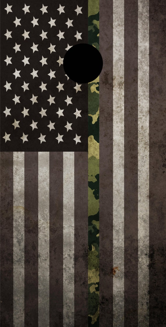 Flag Themed Cornhole Board Prints Bag Toss Thin Line BDU Marines Custom FREE SHIPPING Corn Hole Wraps Corn Toss