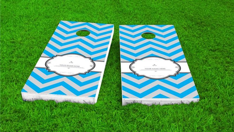 Wedding Games Reception Games Thin Blue Chevron Wedding Themed 2x4 Custom Cornhole Board Set with bags