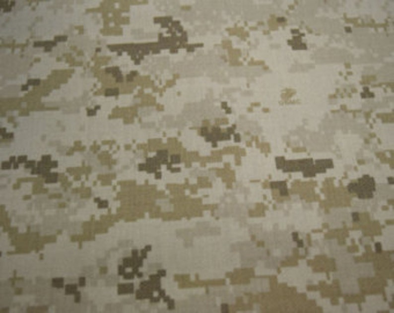 Marpat Desert Digital, Marine Military Camouflage Fabric USMC Logo NY/CO  Twill ( 50 Nylon 50 Cotton), 64 inches wide By The Yard