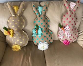 Polka Dot Burlap Easter Bunny