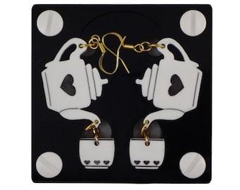 Gifts For Tea Lovers, Tea Lovers, Tea Lover Gift, Heart Earrings, Tea Jewelry, Lovely Tea Acrylic Earrings, Cute Tea Cup Earrings, Tea Gifts