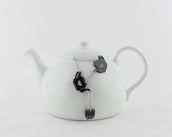 Tea Necklace, Tea Cup Jewelry, Coffee cup Acrylic Necklace, Black Sweetea Necklace, Sweet Tea, Tea Cup Necklace, Tea Cup Pendant