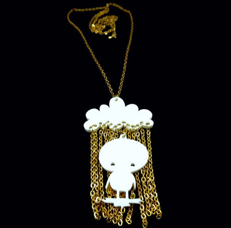 Sunny Rain Necklace Good Mood Handmade Acrylic Necklace image 0