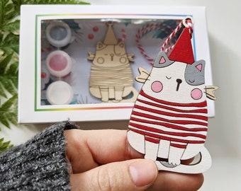 DIY Christmas Kit, Ornament painting kit, Holiday Craft, wooden Christmas tree, wood painting, holiday party craft, Mod Kit