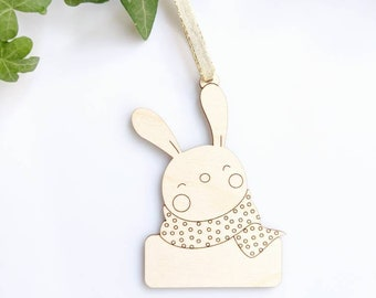 Bunny ornament with personalized name, Laser Cut Wood Christmas Ornament, Anniversary Gift, Personalized Gift, Custom Message
