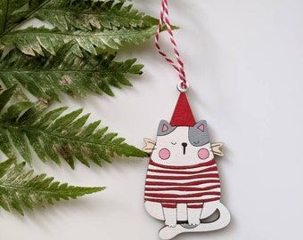 Personalize baby first Christmas ornament| Cat Ornament | Custom Ornament with name and year | laser cut birch | Christmas decorations 2020