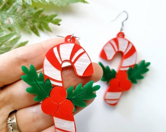 Christmas candy cane earrings, long distance gift, holidays gift ideas, laser cut Christmas earrings