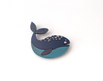 Whale pin, ocean brooch, under the sea pin