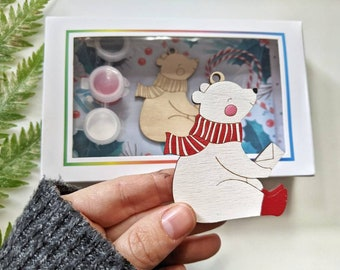 DIY Christmas Kit, Bear Ornament painting kit, Holiday Craft, wooden Christmas tree, wood painting, holiday party craft, long distance gift