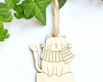 Personalize cat ornament| Laser Cut Wood Christmas Ornament  Personalized Gift, Custom Message]| Long-distance gift| Christmas decoration