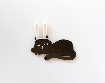 Halloween cat pin, cat with bunny ears, black cat pin, cute cat Halloween, kawaii, spooky brooch, laser cut, quirky cat