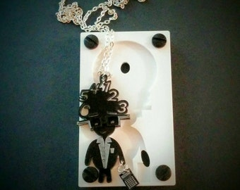Black Newton Necklace, Handmade Acrylic Necklace, Perspex Necklace, Tech Gift