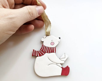 Personalize gift| long-distance gifting | Custom Holiday gift| handpainted  bear ornament |laser cut birch | Christmas decoration 2020