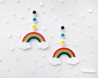 Rainbow Earrings, Laser Cut Rainbow Statement Earring, Colorful Drop Earring, Pride Earrings, Acrylic Earrings