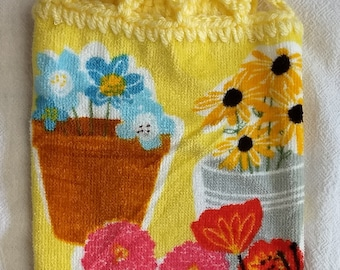 Colorful Flowers Hanging Kitchen Towel with Universal Hang