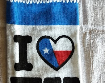 I Love Texas Hanging Kitchen Towel with Universal Hang