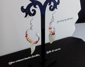 Bijoux créateurs boucles d'oreilles. Belle 2 nacres