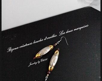 Bijoux créateurs boucles d'oreilles. Les deux marquises