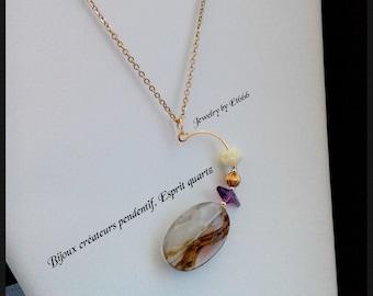Bijoux créateurs pendentif. Esprit quartz