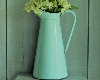 Duck egg blue enamel jug  French enamel jug  Turquoise blue enamel pitcher  Enamel pitcher