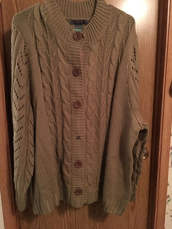 Vintage Redoute Brown Sweater Cardigan Heavy Warm Snaps ...