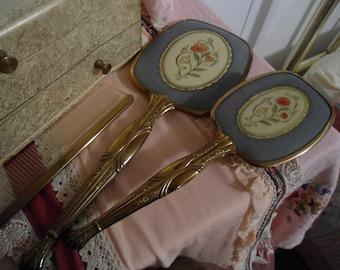Vintage Mirror, Brush & Comb 50's Goldwash Vanity Set Lavender Floral Covered in Excellent Condition